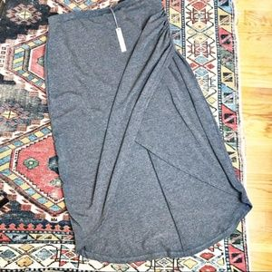 Women's large wrap front high low gray midi skirt
